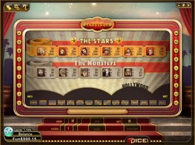 paytable offering 2000 coin max payout and 12 payline diagrams