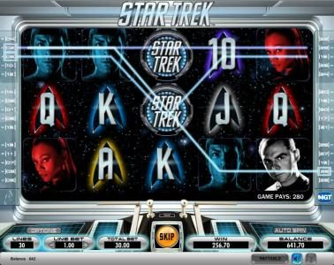 Star Trek slot game paying out 280 coin jackpot