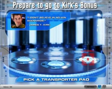Star Trek slot game after your selection transporter pad is locked