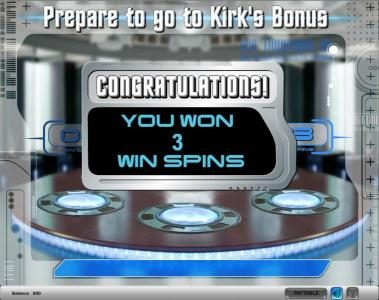 Star Trek slot game congratulations for the free spins