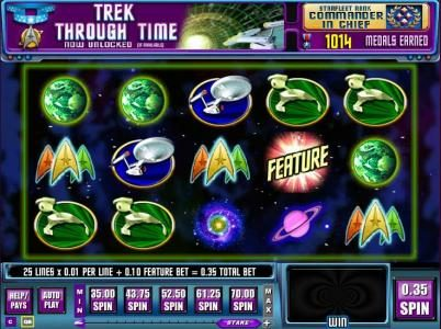 Star Trek: Piece of the Action :: Main game board featuring five reels and 25 paylines