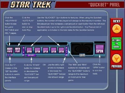 Star Trek: Piece of the Action :: Quickbet Panel layout and description