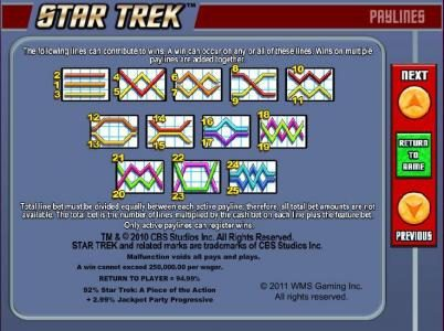 Star Trek: Piece of the Action :: Payline diagrams 1 to 25 and general game rules.