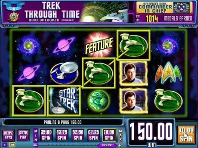 Star Trek: Piece of the Action :: four klingon symbols triggers a 150 coin jackpot