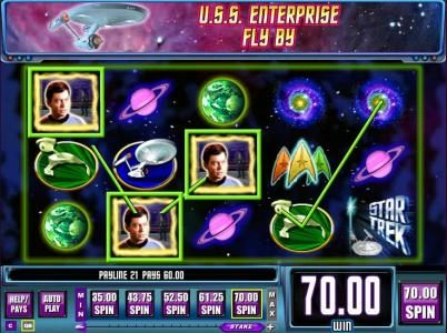 Star Trek: Piece of the Action :: After U.S.S. Entrerprise fly by, three random symbols are changed into Dr. McCoy symbols triggering a 70 coin jackpot