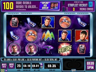 Star Trek: Red Alert :: Main game board featuring five reels and 25 paylines