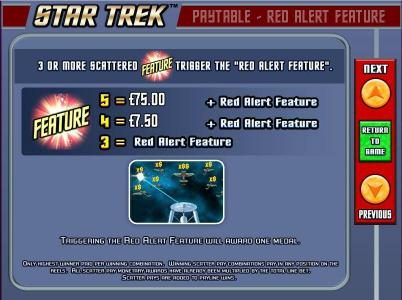 Lucky Bets featuring the Video Slots Star Trek: Red Alert with a maximum payout of $5,000