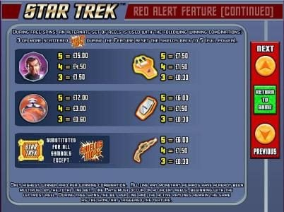Star Trek: Red Alert :: red alert feature paytable continued.