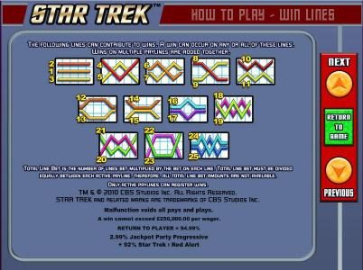 Star Trek: Red Alert :: Payline diagrams.