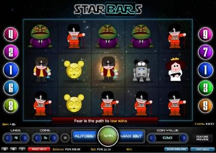 Casino Superlines featuring the Video Slots Starbars with a maximum payout of $2,500