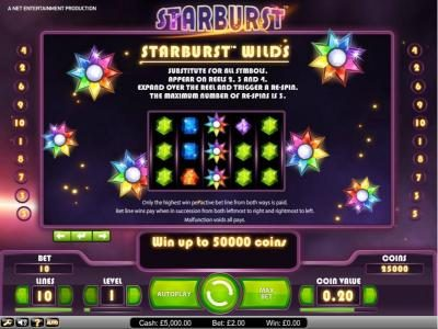 Northern Lights featuring the Video Slots Starburst with a maximum payout of $2,500