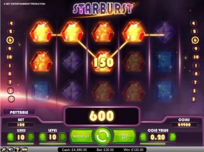 Fruity Vegas featuring the Video Slots Starburst with a maximum payout of $2,500