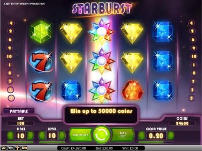 Slots Angel featuring the Video Slots Starburst with a maximum payout of $2,500