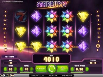 Starburst :: Starburst big win payout of 4010 credits