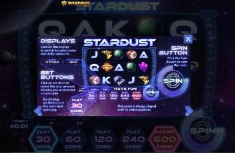 Winaday featuring the Video Slots Stardust with a maximum payout of $200