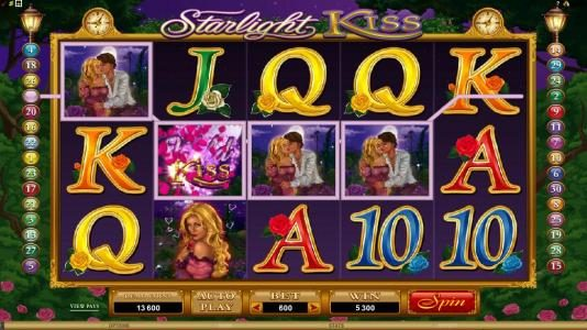 Cabaret Club featuring the Video Slots Starlight Kiss with a maximum payout of $10,000