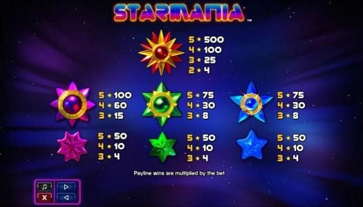 Jackpot Mobile featuring the Video Slots Starmania with a maximum payout of $9,200