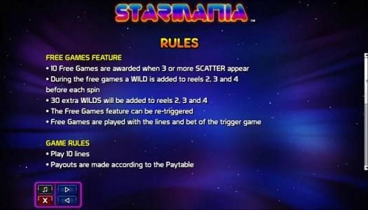 Casiplay featuring the Video Slots Starmania with a maximum payout of $9,200