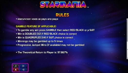 Winzino featuring the Video Slots Starmania with a maximum payout of $9,200