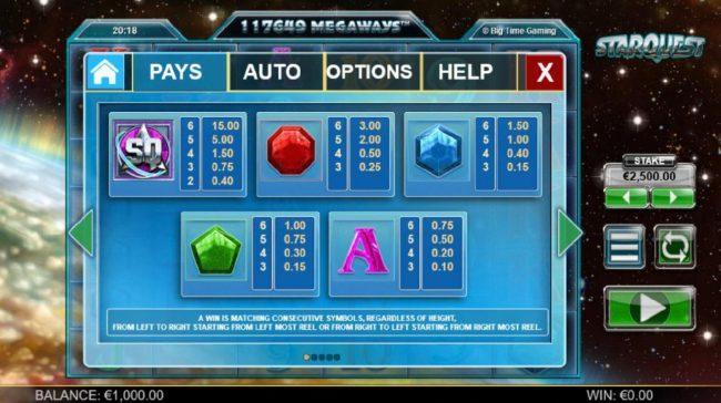 Sin Spins featuring the Video Slots Starquest with a maximum payout of $37,500