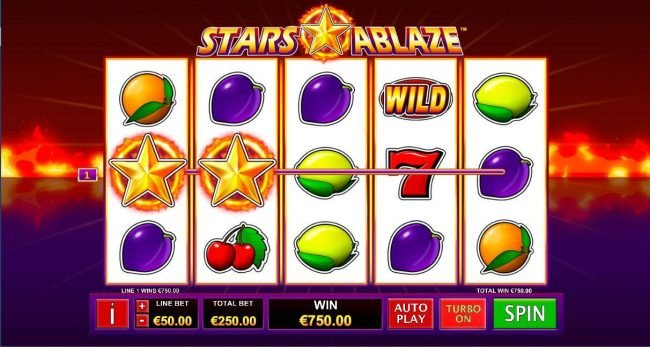 Giant Vegas featuring the Video Slots Stars Ablaze with a maximum payout of $3,750,000