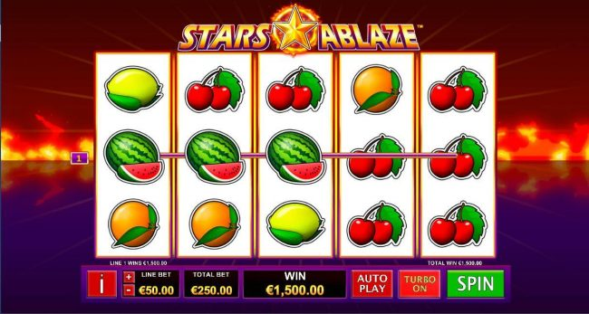 MANSION featuring the Video Slots Stars Ablaze with a maximum payout of $3,750,000