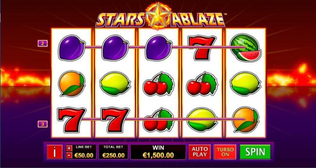Come On featuring the Video Slots Stars Ablaze with a maximum payout of $3,750,000