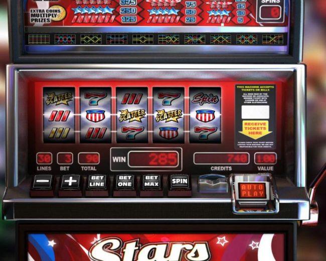 Three scatter symbols triggers a 285 credit jackpot