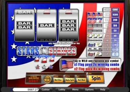 Play slots at Villa Fortuna: Villa Fortuna featuring the Video Slots Stars 'n Stripes with a maximum payout of $1,600