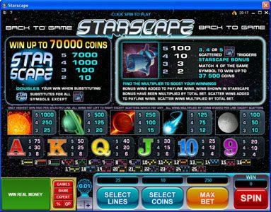 Mega Casino featuring the Video Slots Starscape with a maximum payout of $70,000