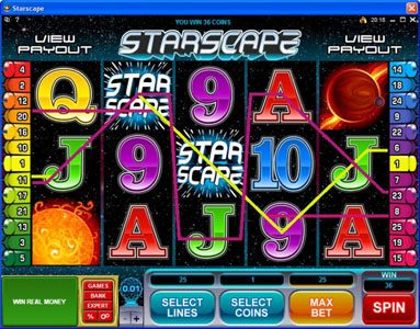 18 Bet featuring the Video Slots Starscape with a maximum payout of $70,000