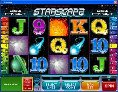 Spin Station featuring the Video Slots Starscape with a maximum payout of $70,000