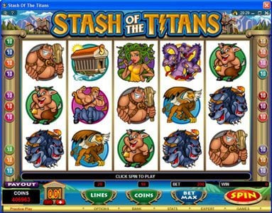 Play slots at King Billy: King Billy featuring the Video Slots Stash of the Titans with a maximum payout of $200,000