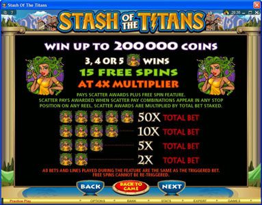 Platinum Play featuring the Video Slots Stash of the Titans with a maximum payout of $200,000