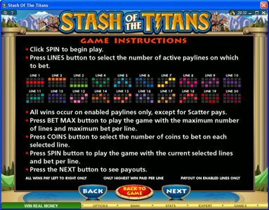 Music Hall featuring the Video Slots Stash of the Titans with a maximum payout of $200,000
