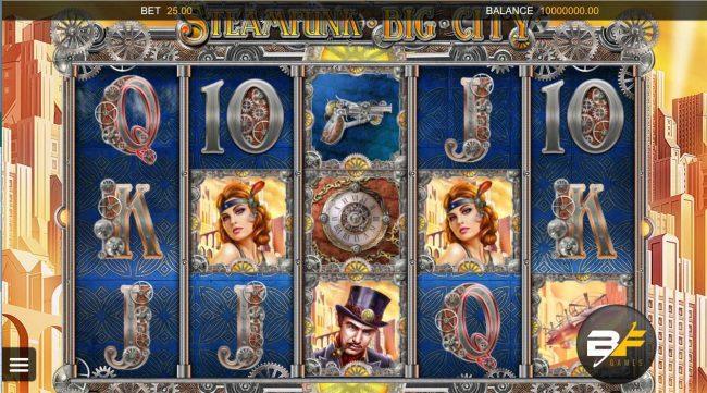 A 19th-century industrial steam sci-fi fantasy themed main game board featuring five reels and 20 paylines.