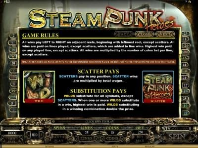 Casino Classic featuring the Video Slots Steam Punk Heroes with a maximum payout of $4,000