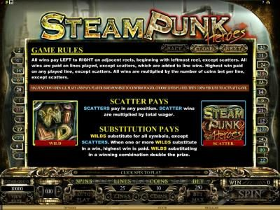Play slots at Casino Action: Casino Action featuring the Video Slots Steam Punk Heroes with a maximum payout of $4,000