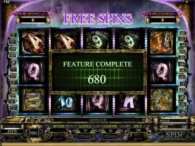 after our 10 free spins completed we won 680 coins