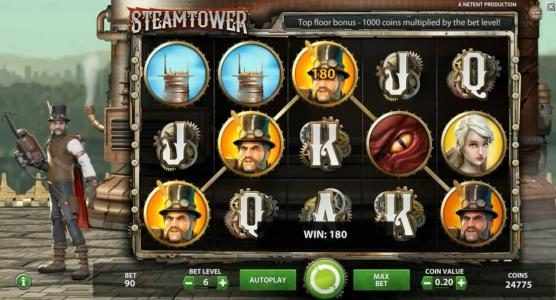 Play slots at Rizk: Rizk featuring the Video Slots Steam Tower with a maximum payout of $0