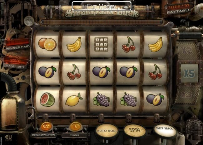Play slots at Win 7: Win 7 featuring the Video Slots Steampunk Luck with a maximum payout of $37,500