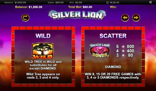 Stellar Jackpot with Silver Lion :: Wild and Scatter Symbol Rules