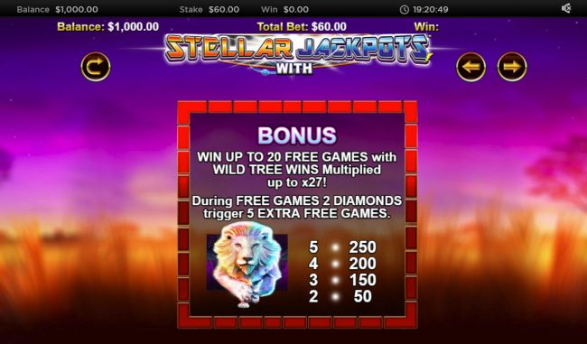 Stellar Jackpot with Silver Lion :: Bonus Game Rules