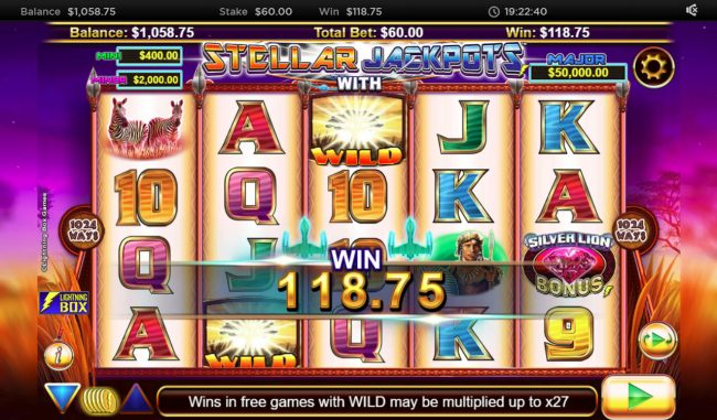 Karamba featuring the Video Slots Stellar Jackpot with Silver Lion with a maximum payout of $320,000