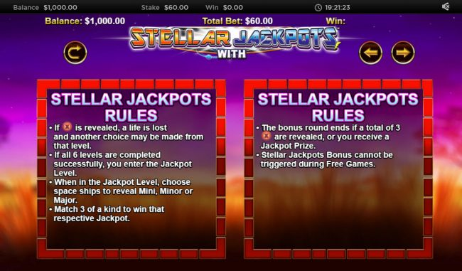 Triple Aces featuring the Video Slots Stellar Jackpot with Silver Lion with a maximum payout of $320,000