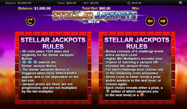 Stellar Jackpot with Silver Lion :: Jackpot Rules