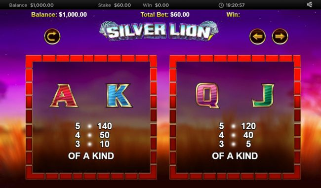 Deuce Club featuring the Video Slots Stellar Jackpot with Silver Lion with a maximum payout of $320,000