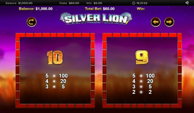 Stellar Jackpot with Silver Lion :: Low Value Symbols