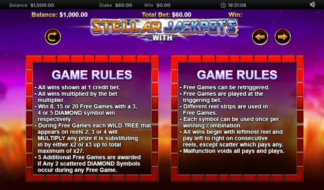 Stellar Jackpot with Silver Lion :: General Game Rules