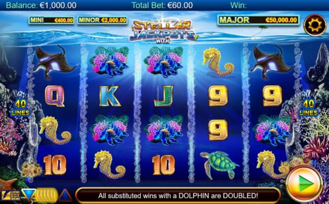 Stellar Jackpots with Dolphin Gold :: An ocean adventure themed main game board featuring five reels and 40 paylines with a progressive jackpot max payout.